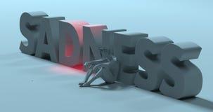 Sadness - 3d render text sign, near depressed stressed man, illu Stock Photography