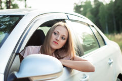 Sadness, the driver got stuck in traffic Stock Photo