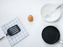 Sadness emotion of egg with pan on white background Royalty Free Stock Photography