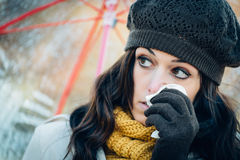 Sadness flu and cold on autumn Stock Images