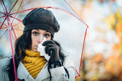 Sadness flu and cold on autumn Royalty Free Stock Images