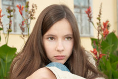 Sadness girl. Young sad girl looks into the distance Royalty Free Stock Photography