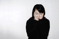 Sadness and hopeless woman. On white Stock Photo