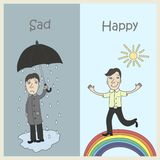 Sadness and Joy. Human emotions - sadness and joy. Sad man under an umbrella, and happy running on a rainbow Royalty Free Stock Image