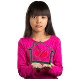 Sadness little asian girl holding virtual house with broken hear Royalty Free Stock Photography