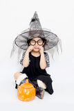 Sadness little witch Royalty Free Stock Image