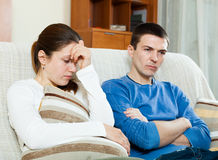 Sadness married couple having problems. At home Royalty Free Stock Photos