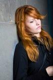 Sadness, moody portrait, beautiful redhead girl. stock photos