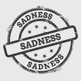 Sadness rubber stamp isolated on white background. Grunge round seal with text, ink texture and splatter and blots, vector illustration Royalty Free Stock Photo