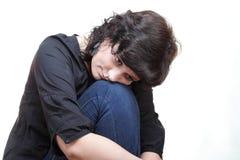 Sadness thinking woman isolated Stock Image
