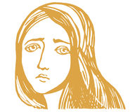 Sadness. A vector illustration of a very sad girl Stock Images