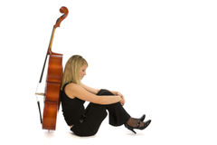 Sadness woman musician with cello Stock Photo