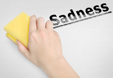 Sadness word. Cleaning sadness word on background Royalty Free Stock Photos