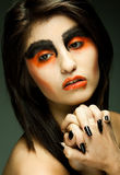 Sadness- young woman in depression.Creative make-up. Royalty Free Stock Photos