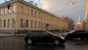 Sadovaya street in St. Petersburg. View of the Mikhailovsky Castle. stock video footage