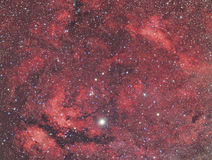 Sadr and Nebula in constellation Cygnus. Imaged with a telescope and a scientific CCD camera royalty free stock photo