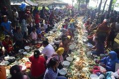 Sadranan nella città di Sendanggede di Samarang Fotografie Stock