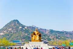 Sae Jong Dae Statue People Bugaksan si è concentrato Seoul Immagini Stock