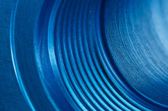 SAE Port. Close up of a Blue Anodized Hydraulic SAE Port Royalty Free Stock Photography