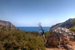 Sae, roca, bahía, Lissos, Creta Grecia fotos de archivo