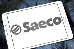 Saeco coffee machines company logo. Logo of Saeco company on samsung tablet. Saeco International Group SpA is an Italian manufacturer of coffee machines Stock Images