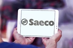 Saeco coffee machines company logo. Logo of Saeco company on samsung tablet. Saeco International Group SpA is an Italian manufacturer of coffee machines Stock Image