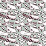 Saemless vector pattern with drawing vegetables Stock Images