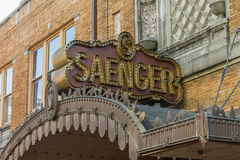 Saenger Marquee Movie Theatre Neon Birmingham Alabama. Vintage movie theater marquee sign in art deco motif. 20`s style neon signage royalty free stock images