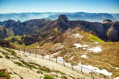Saentis山风景,瑞士阿尔卑斯 免版税库存照片