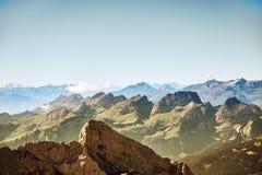 Saentis山风景,瑞士阿尔卑斯 免版税图库摄影