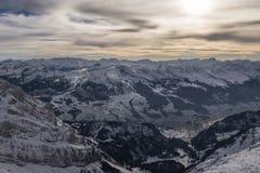 从Saentis的顶端日落 图库摄影