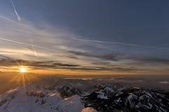 从Saentis的顶端日落 免版税图库摄影