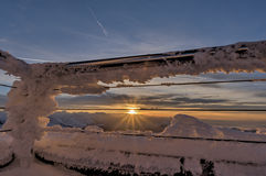 从Saentis的顶端日落 库存照片