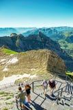 Saentis berglandskap, schweiziska fjällängar Arkivfoto