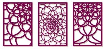Saet van Vectorlaser sneed panelen Abstract Patroonmalplaatje voor D Stock Fotografie