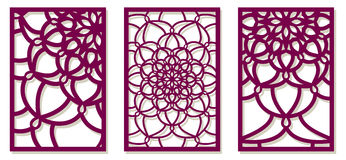 Saet of Vector Laser cut panels. Abstract Pattern template for d Stock Photography