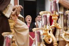 `Saetera' singing during procession  holy monday. Sevilla, Andalusia, Spain Royalty Free Stock Image