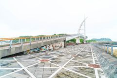 Saeyeongyo bro mellan Seaseom och Seogwipo port i den Jeju islaen Arkivfoto