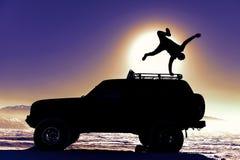 Safari, adrenline, Springen, 4x4, weg weg der Straße, weg der Energie u. von den Pferdestärken Stockbild