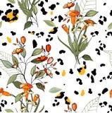 Safari Africa design av leoparden och tiger, orm och sebra vektor Moderna tryck för djur hud Utdragen sömlös modell för blommahan stock illustrationer