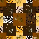 Safari Africa design of leopard and tiger, zebra. Vector. Modern animal skin prints and flower hand drawn seamless pattern vector illustration