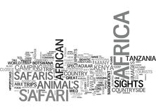 A Safari In Africa Provides Unforgettable Adventures Word Cloud Royalty Free Stock Photo