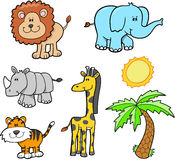 Safari Animal Set. Cute Safari Animal Set Vector Illustration Stock Images