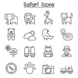 Safari , animal, wildlife, animal icon set in thin line style. Vector illustration graphic design royalty free illustration