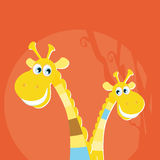 Safari animals - big and small giraffe Royalty Free Stock Image
