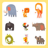 Safari Animals and Birds Vector Illustration Set Royalty Free Stock Images