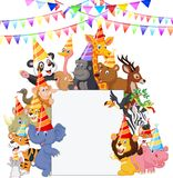 Safari Animals cartoon Wearing Party Hats Stock Image