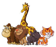 Safari Animals grupp stock illustrationer
