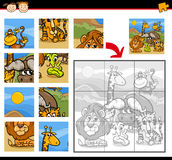 Safari animals jigsaw puzzle game Stock Photos