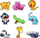 Safari animals. Nine cute safari animals cartoon  illustration Stock Images